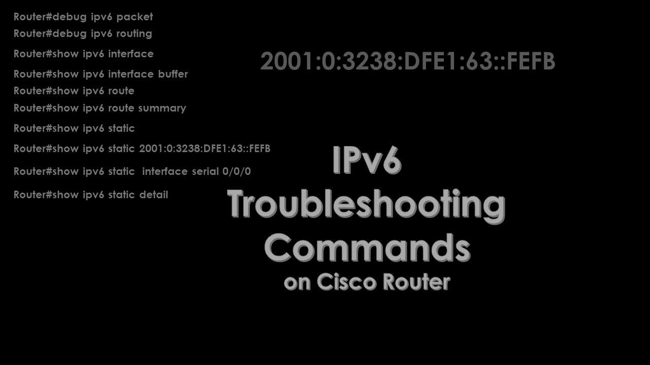 Cisco IOS IPv6 Troubleshooting Commands