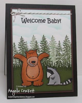 ODBD Custom Grass Hill Die, ODBD Noah's Ark, ODBD Custom Pierced Rectangles Dies, ODBD Custom Clouds and Raindrops Dies, Stampin Up Under the Stars, Inkadinkado Tree Stamp, Card Designed by Angie Crockett