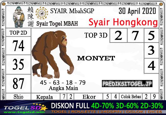 Prediksi Togel Hongkong 30 April 2020 - Syair Mbah Hongkong