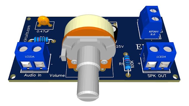 5W BTL Audio Amplifier with DC volume control + PCB