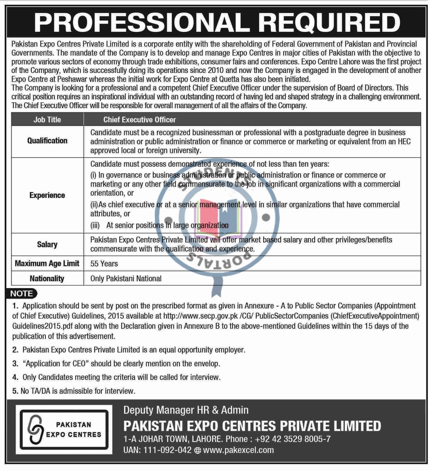 JOBS IN PAKISTAN EXPO CENTRES PVT LTD LAHORE 2019