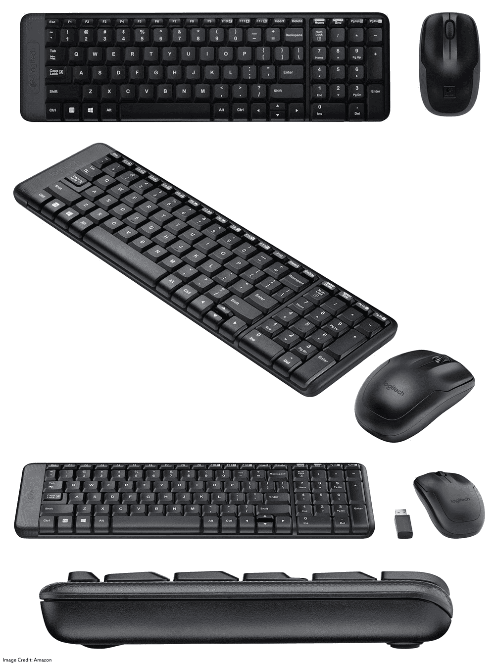 The image of Logitech MK215 wireless keyboard and mouse combo. Its color is black. Moreover, It has a warranty of 1 year. Furthermore, The keyboard has total of 101 keys and the mouse has total of 3 buttons.