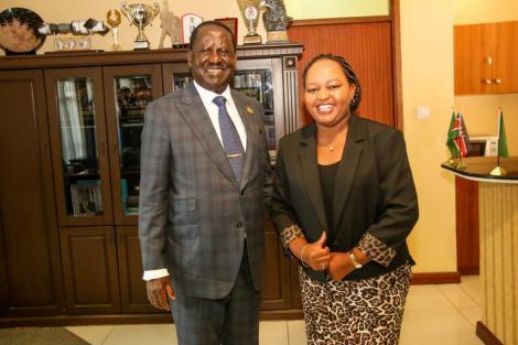 Raila Odinga with Anne Waiguru in a past event at capitol hill. FILE