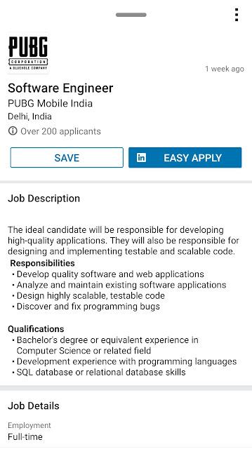 PUBG LinkedIn job post