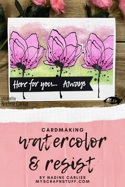 flower stamp | here for you card