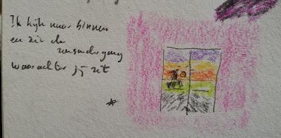 Spiegeling zonsondergang haiku en tekening