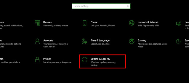 open update and security tab on windows 10 from settings
