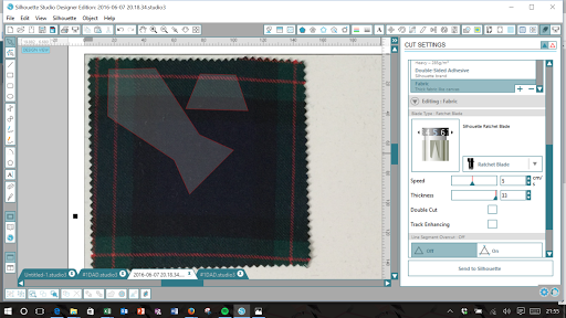 How to Cut Tartan Wool Fabric with Silhouette Cameo.  Pixscan menu in Silhouette Studio.  Father's Day card tutorial by Nadine Muir for Silhouette UK Blog