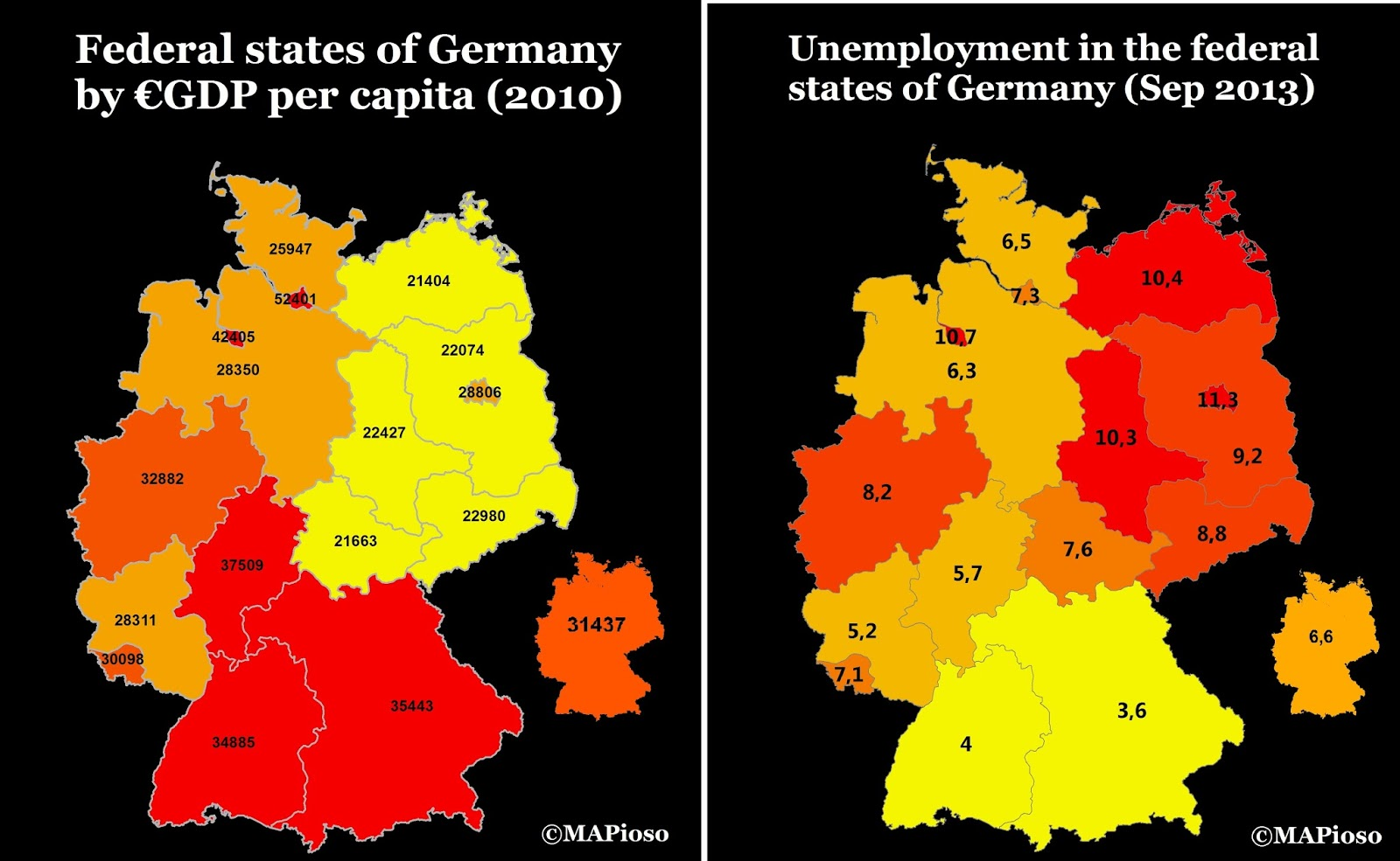 The economic inequality between the former states of West & East Germany