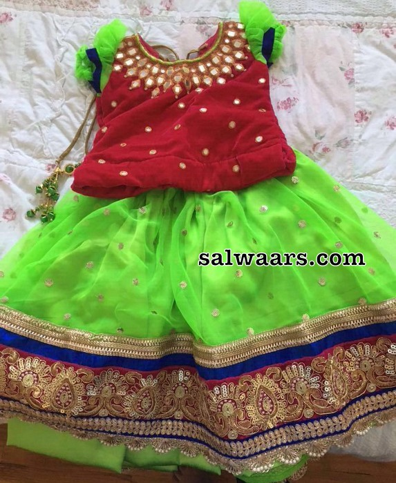 Green and Pink Lehenga