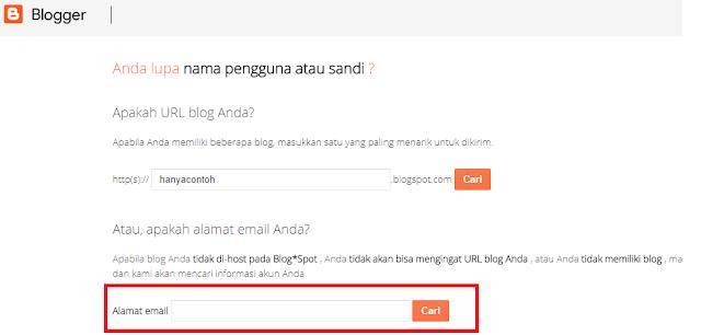 Cara Memulihkan Blog Dengan Alamat Email