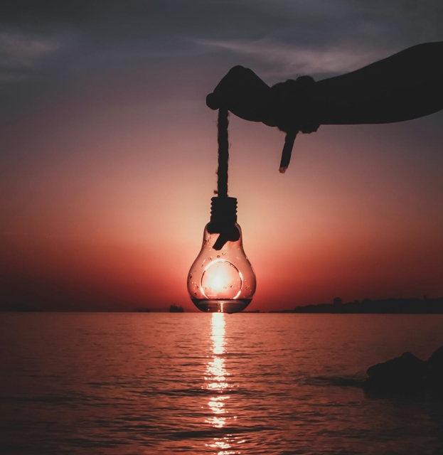 Lightbulb, sea, sunset,  Saving Electricity, environment friendly