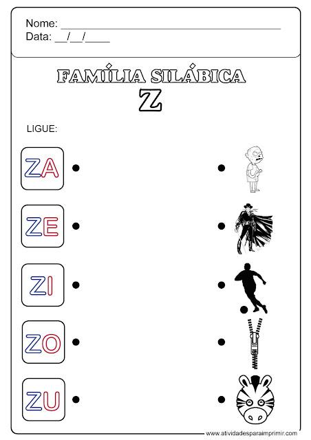 família silábica do z para imprimir