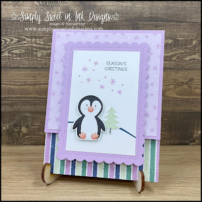 Cute and simple penguin holiday card with the Penguin Playmates Designer Series Paper!