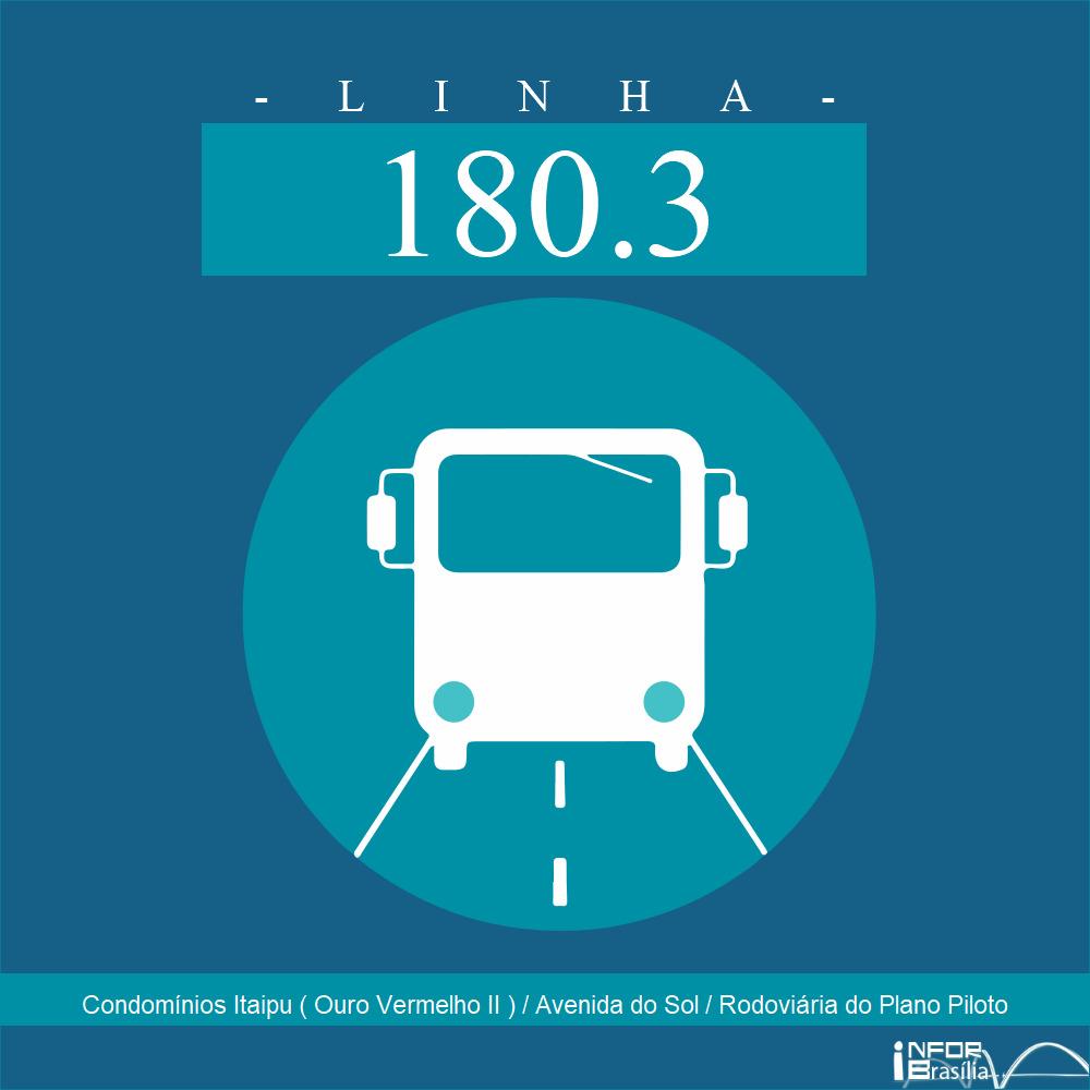 Horário de ônibus e itinerário 180.3 - Condomínios Itaipu ( Ouro Vermelho II ) / Avenida do Sol / Rodoviária do Plano Piloto