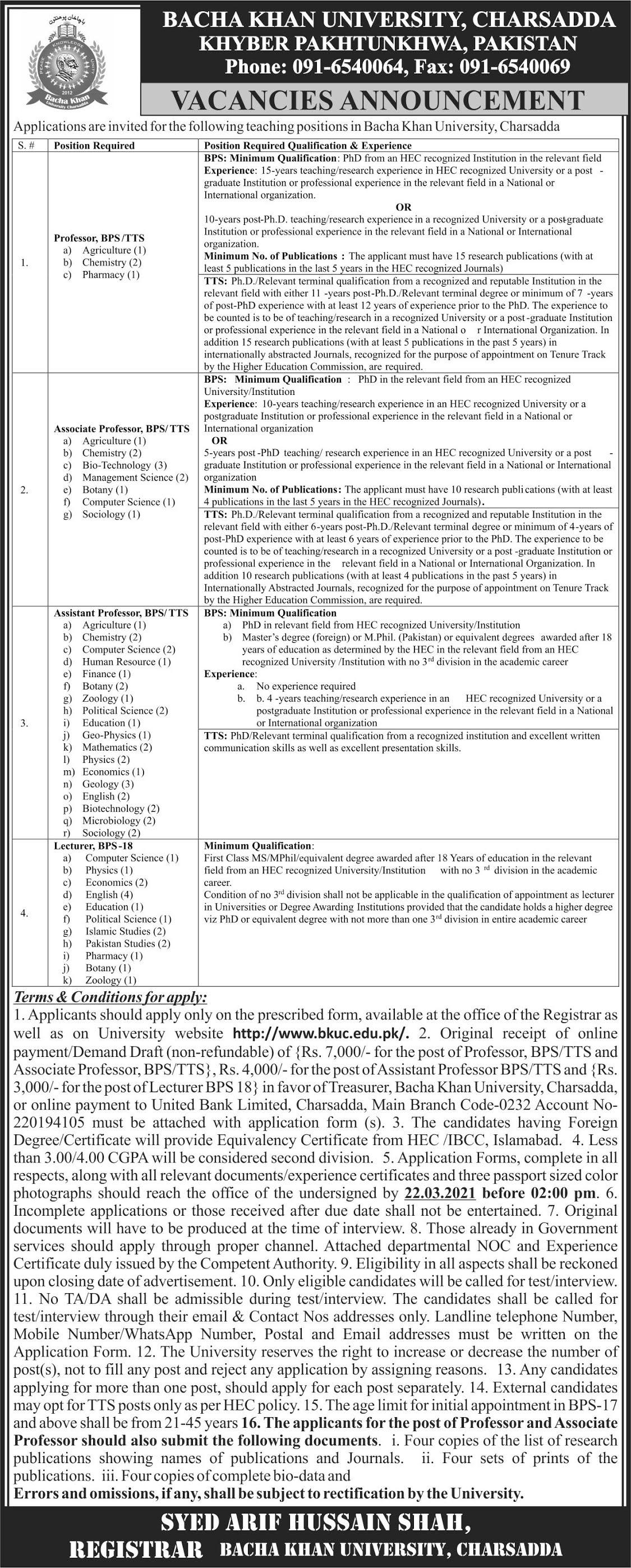 Bacha Khan University Charsadda BKUC Jobs 2021 For Teaching Staff
