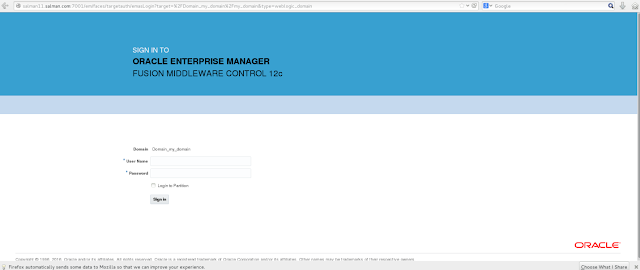 Oracle Enterprise Manager for Fusion Middleware Login page