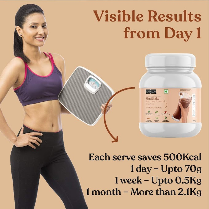 Kapiva Slim Shake - New & Improved - India's First Ever Complete Meal Replacement Powered With 6 Ayurvedic Herbs - Helps in Weight Management - 500