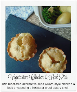 Made with a quorn meat substitute, these delicious and easy to make individual chicken and leek pies are housed in a hot water crust pastry shell.