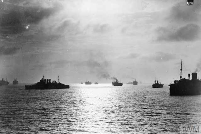 British convoy at anchor at Freetown, 14 April 1942 worldwartwo.filminspector.com