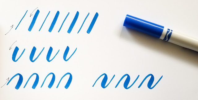 brush calligraphy exercises with crayola markers