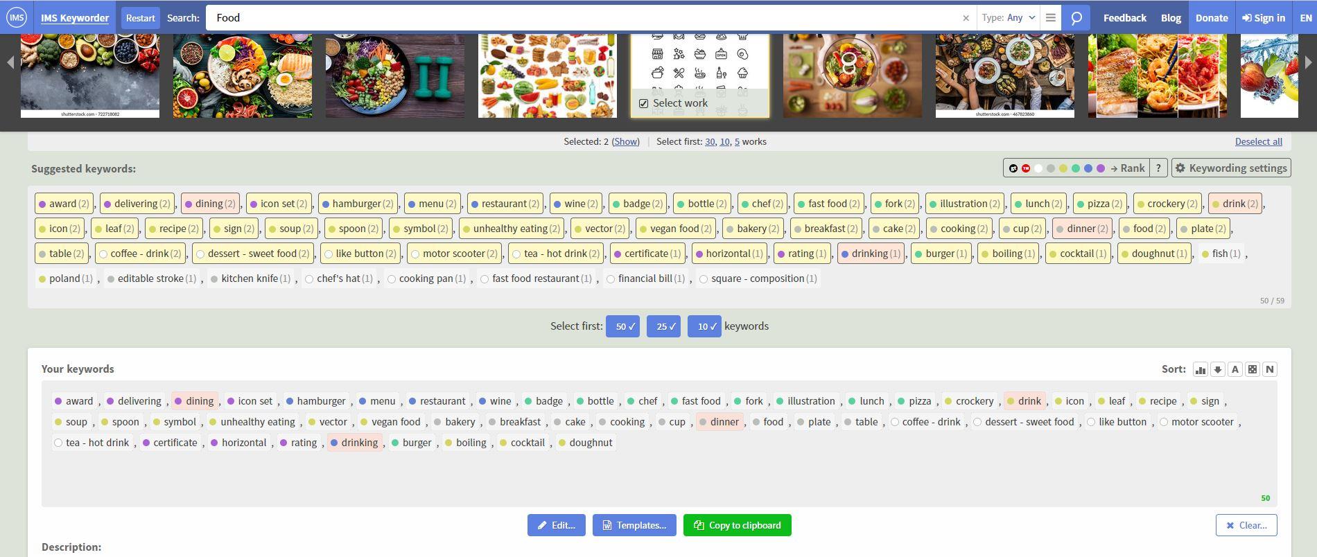 mencari keyword food di https://imstocker.com/en/keyworder