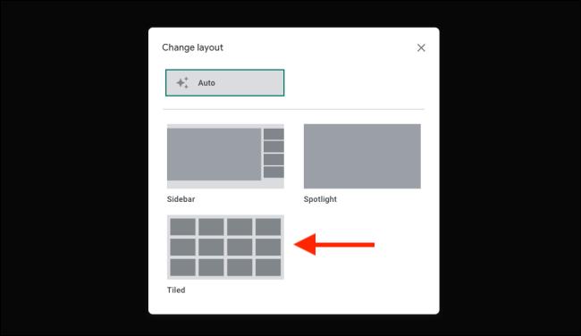 التبديل إلى طريقة العرض المتجانبة في Google Meet