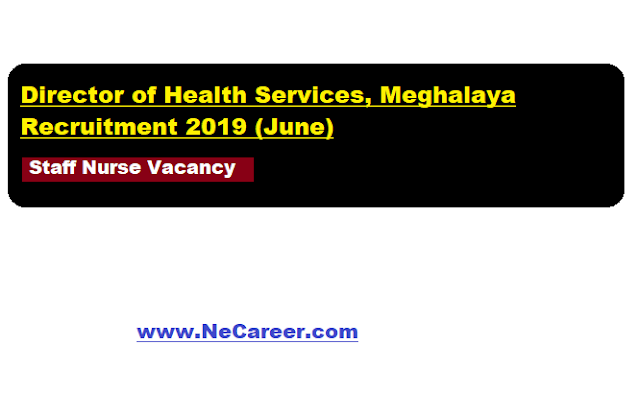Director of Health Services, Meghalaya Recruitment 2019 (June)