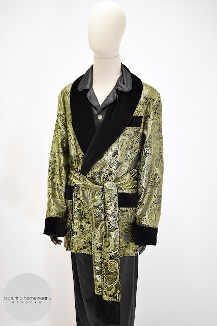 mens paisley silk smoking jacket pajamas set robe dressing gown