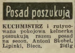 Lipinki 1936  dwór ogłoszenie