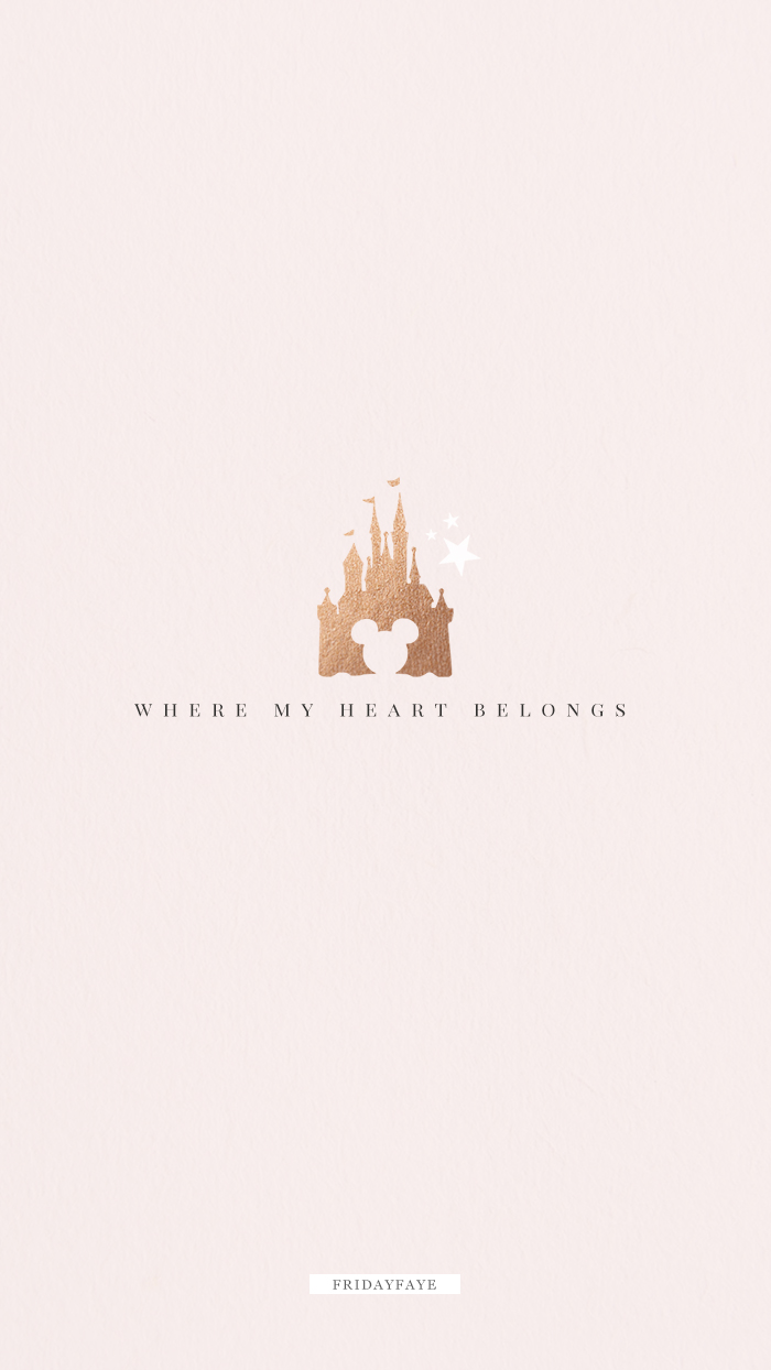 "Text on pink background ""where my heart belongs"" with Disney castle illustration"