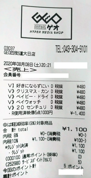 GEO ゲオ 四街道大日店 2020/8/8 のレシート