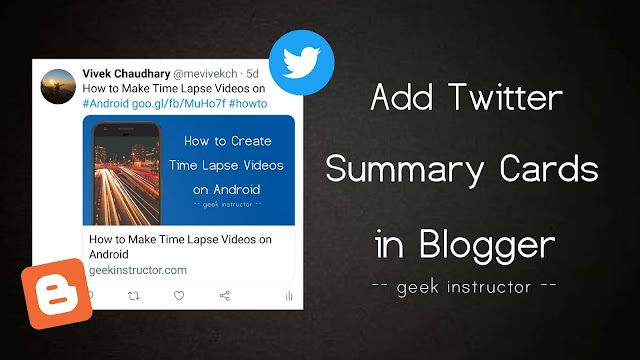 Add Twitter summary card meta tags in Blogger