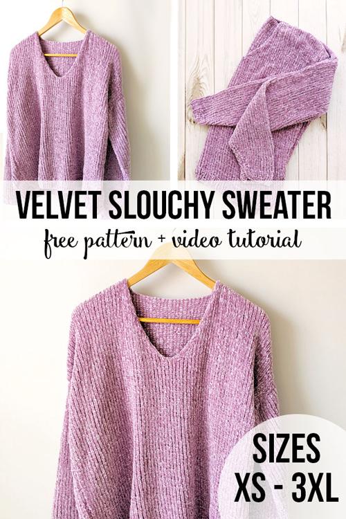 Velvet Slouchy Sweater - Free Knitting Pattern