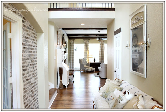French Farmhouse Foyer-Wood Beams-Brick Wall-From My Front Porch To Yours
