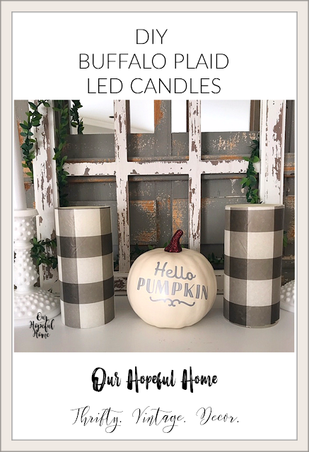 buffalo plaid LED candles Hello Fall white pumpkin