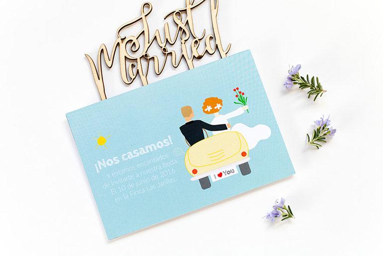 invitación boda diferente personalizada Estrella de Pablo