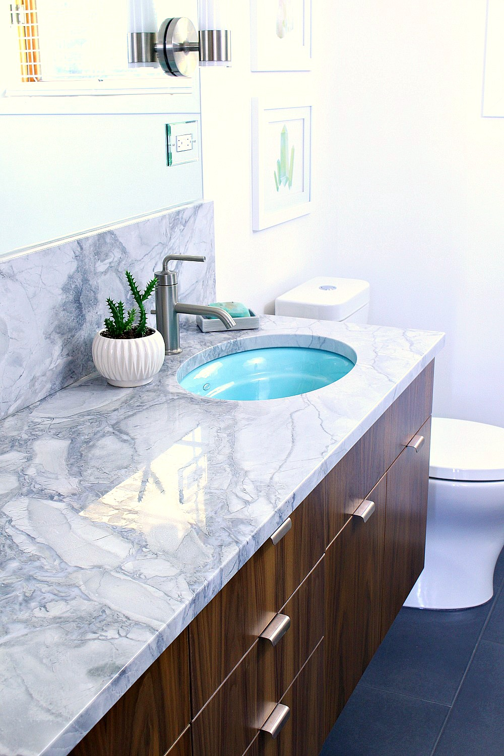 Mid-Century Modern Inspired Bathroom Renovation, Before + After - Floating Walnut Vanity, Quartzite Counters, Kohler Purist Fixtures, Aqua Sinks - from www.danslelakehouse.com