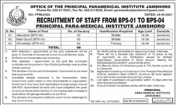 Office of The Principal Paramedical Institute Jamshoro Jobs 2021