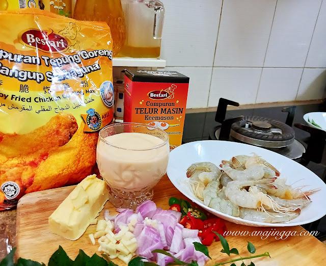 Resepi Udang buttermilk salted egg dengan serbuk Bestari Telur Masin