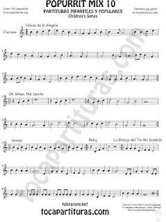 Mix 10 Partitura de Clarinete Himno de la Alegría Oh When the Saints, Sirena, Reloj y La Granja del Tio Gilito Himno de la Alegría. Oh When the Saints, Sirena, Reloj y La Granja del Tio Gilito Popurrí Mix 10 Sheet Music for Clarinet Music Score