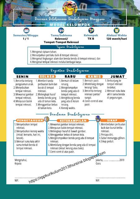 RPP Mingguan Model Kelompok TK B | RPP INSPIRATIF