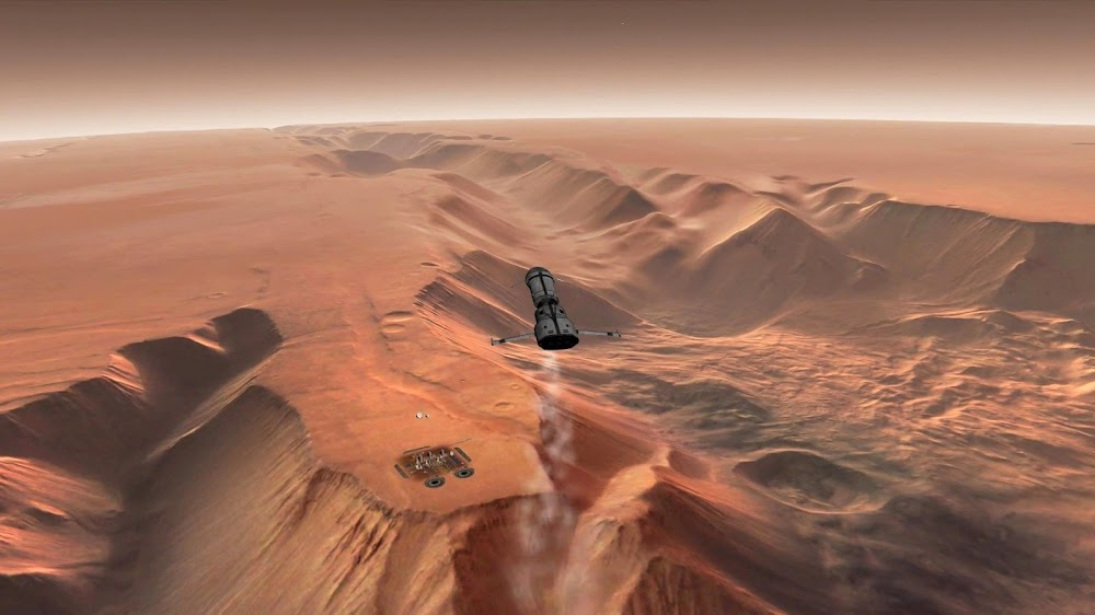 Cargo spaceship landing at Orcus Patera base on Mars from Orbiter space flight simulator