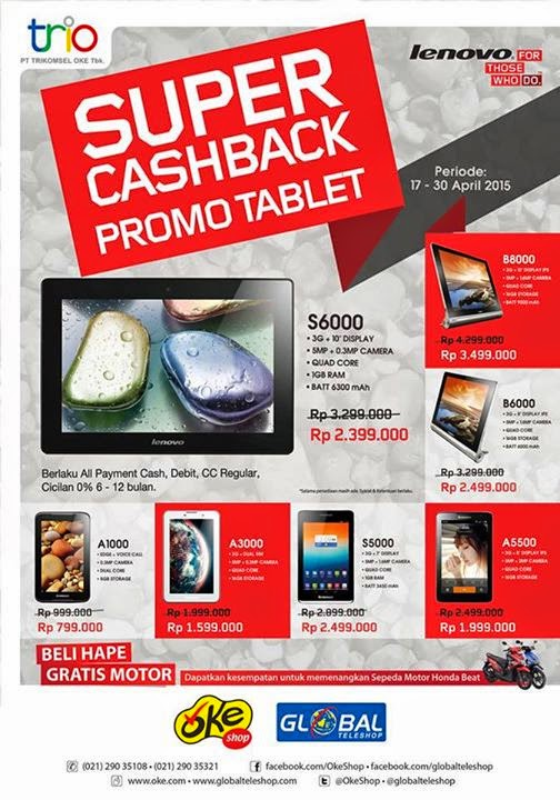 Super Cashback Promo Tablet Lenovo April 2015