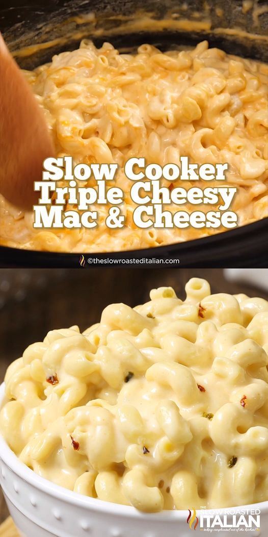 SLOW COOKER TRIPLE CHEESY MAC AND CHEESE RECIPES