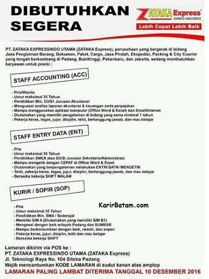 Lowongan Kerja PT. Zataka Expressindo Utama