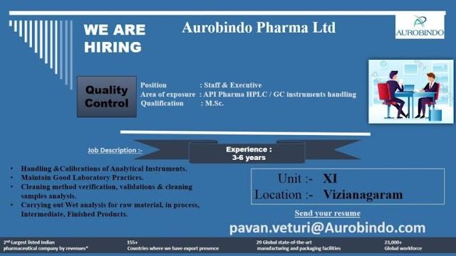 Aurobindo Pharma | Hiring freshers and experienced in QC | Send CV