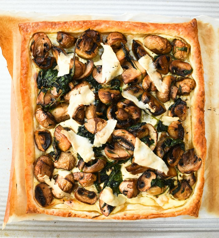 Garlic Mushroom & Spinach Puff Pastry Tart just out of the oven