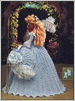 roupa de época em crochet para boneca - crochet collector vol. 57 costas