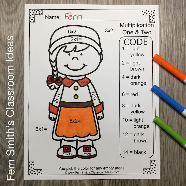 Thanksgiving Color By Number Addition, Subtraction, Multiplication, and Division Printable Worksheets Resource BUNDLE by #FernSmithsClassroomIdeas